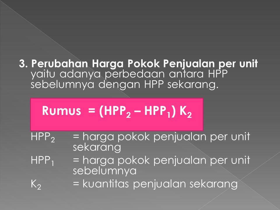 3. Perubahan Harga Pokok Penjualan per unit yaitu adanya perbedaan antara HPP sebelumnya dengan HPP sekarang. HPP 2 = harga pokok penjualan per unit s