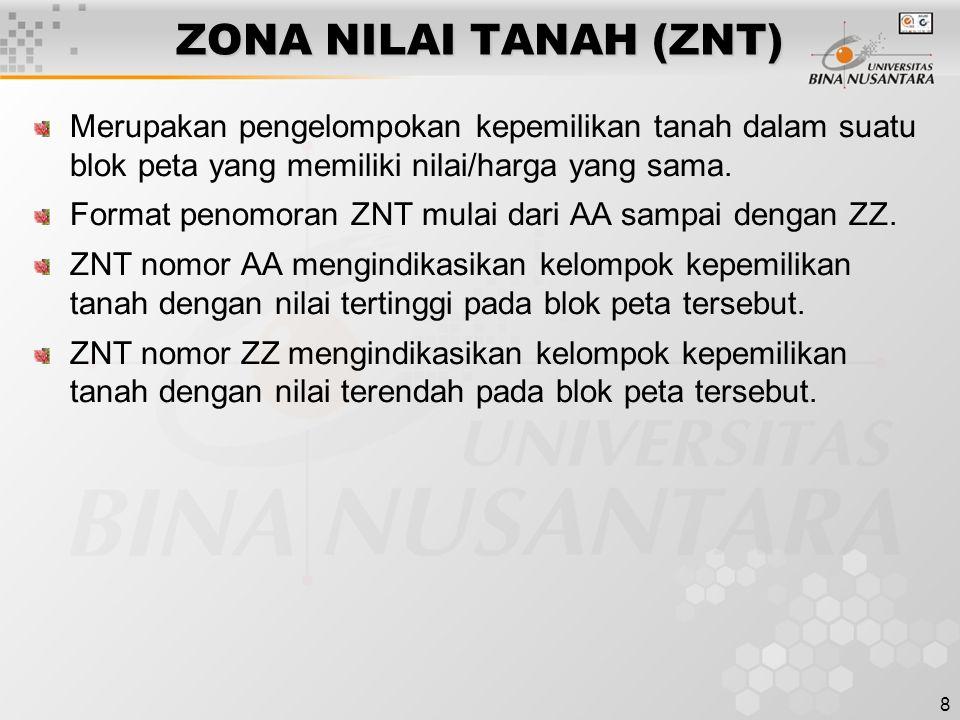 8 ZONA NILAI TANAH (ZNT) Merupakan pengelompokan kepemilikan tanah dalam suatu blok peta yang memiliki nilai/harga yang sama. Format penomoran ZNT mul