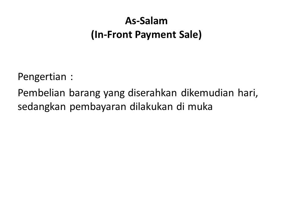 As-Salam (In-Front Payment Sale) Pengertian : Pembelian barang yang diserahkan dikemudian hari, sedangkan pembayaran dilakukan di muka