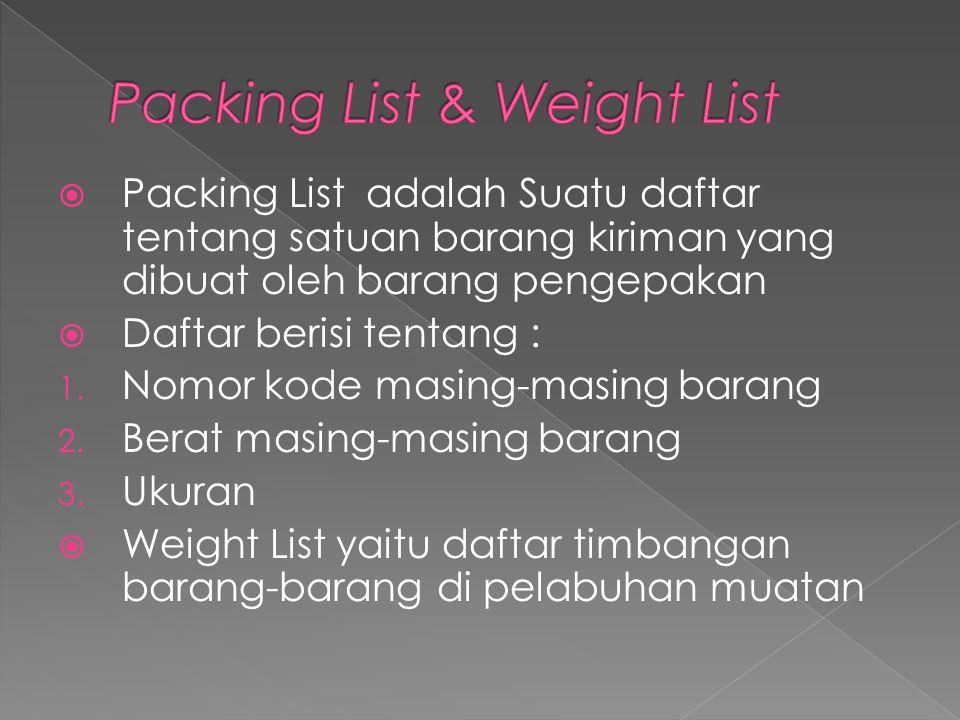  Packing List adalah Suatu daftar tentang satuan barang kiriman yang dibuat oleh barang pengepakan  Daftar berisi tentang : 1. Nomor kode masing-mas