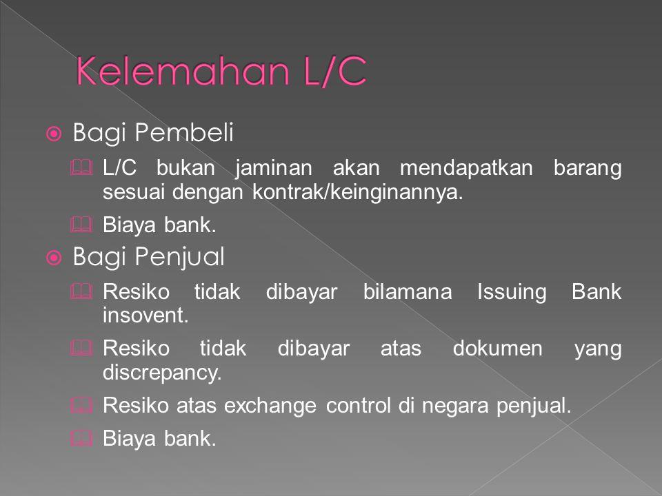  Bagi Pembeli  L/C bukan jaminan akan mendapatkan barang sesuai dengan kontrak/keinginannya.  Biaya bank.  Bagi Penjual  Resiko tidak dibayar bil
