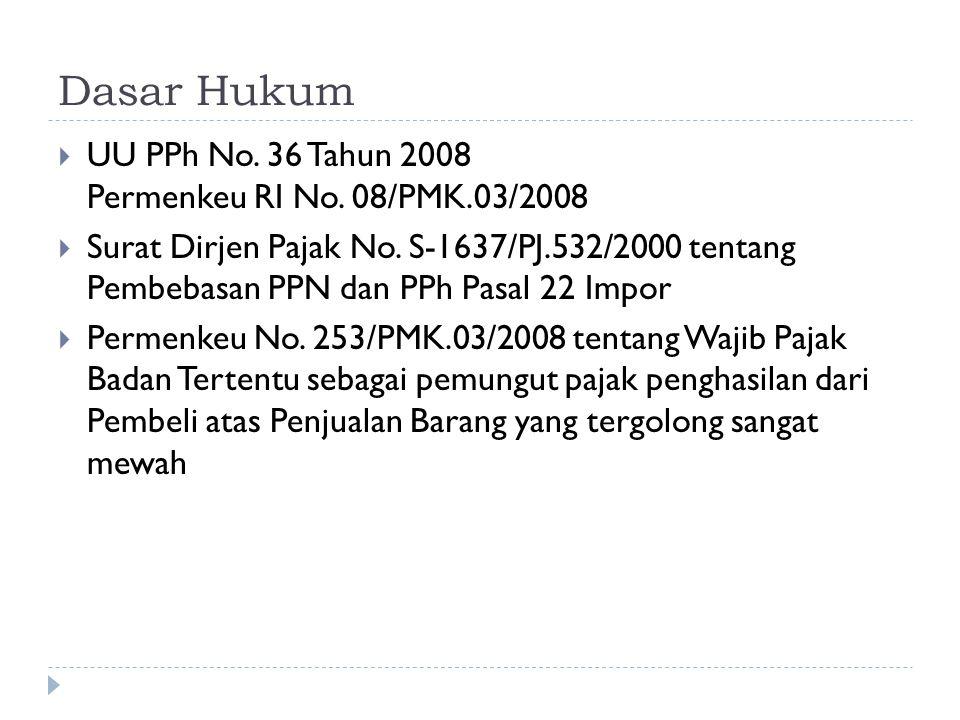 Dasar Hukum  UU PPh No. 36 Tahun 2008 Permenkeu RI No. 08/PMK.03/2008  Surat Dirjen Pajak No. S-1637/PJ.532/2000 tentang Pembebasan PPN dan PPh Pasa
