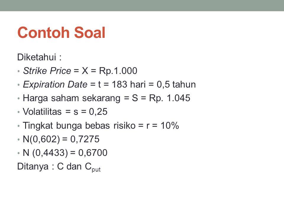 Contoh Soal Diketahui : Strike Price = X = Rp.1.000 Expiration Date = t = 183 hari = 0,5 tahun Harga saham sekarang = S = Rp. 1.045 Volatilitas = s =