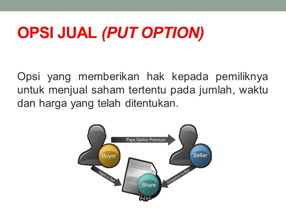OPSI JUAL (PUT OPTION) Opsi yang memberikan hak kepada pemiliknya untuk menjual saham tertentu pada jumlah, waktu dan harga yang telah ditentukan.