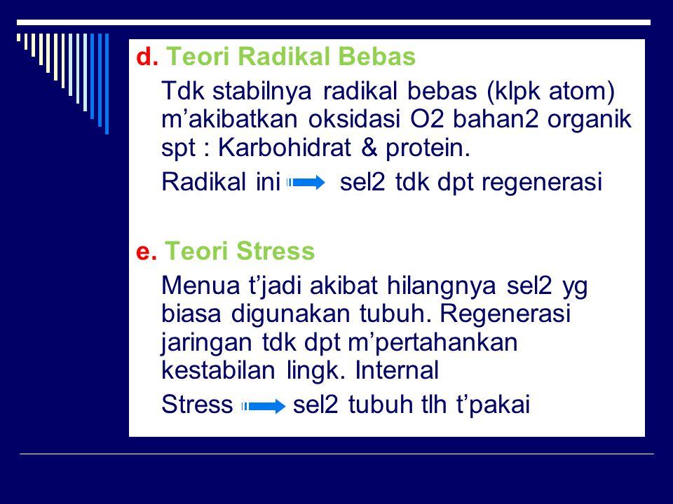 d. Teori Radikal Bebas Tdk stabilnya radikal bebas (klpk atom) m'akibatkan oksidasi O2 bahan2 organik spt : Karbohidrat & protein. Radikal ini sel2 td