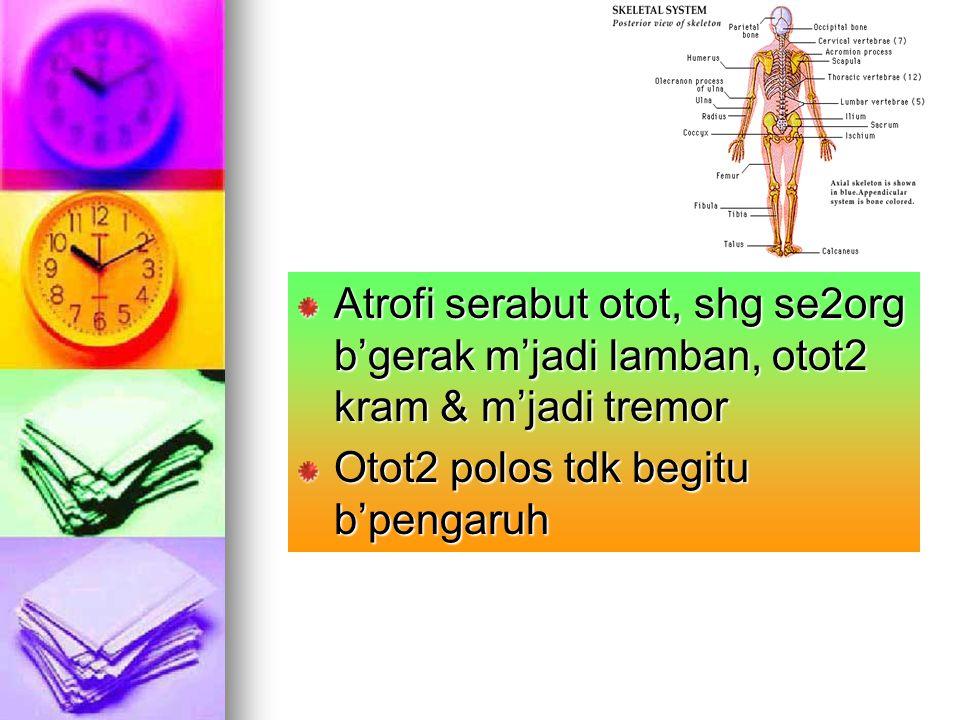 Atrofi serabut otot, shg se2org b'gerak m'jadi lamban, otot2 kram & m'jadi tremor Otot2 polos tdk begitu b'pengaruh
