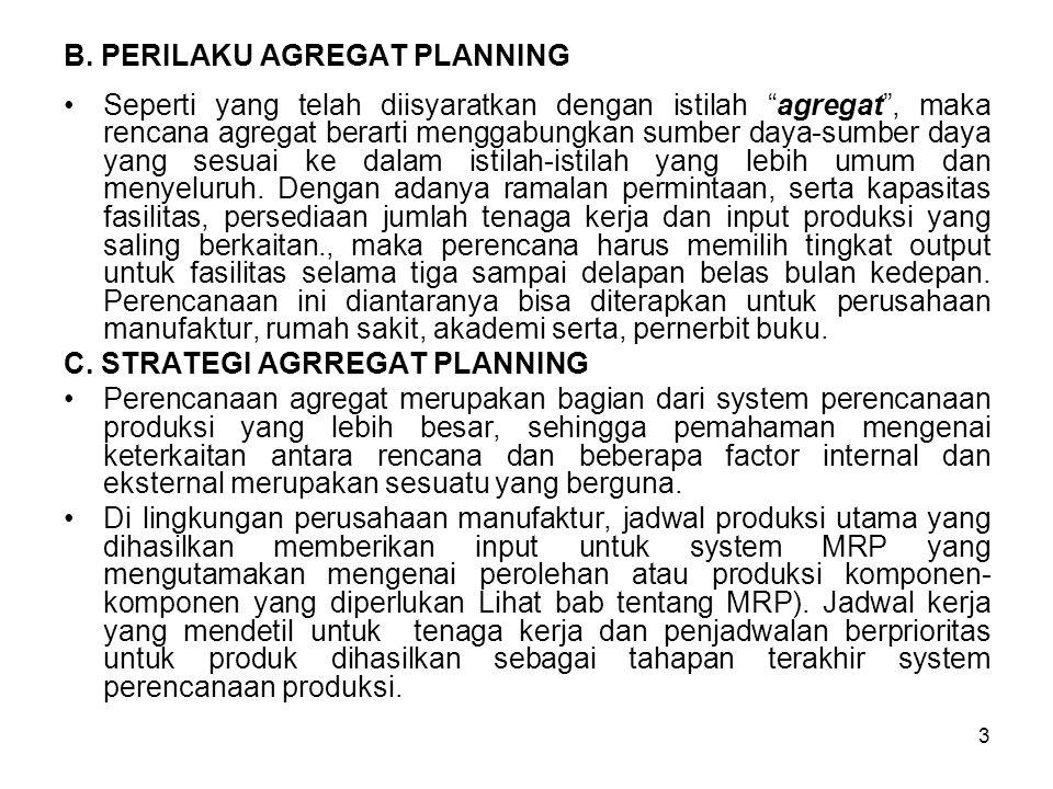 """3 B. PERILAKU AGREGAT PLANNING Seperti yang telah diisyaratkan dengan istilah """"agregat"""", maka rencana agregat berarti menggabungkan sumber daya-sumber"""