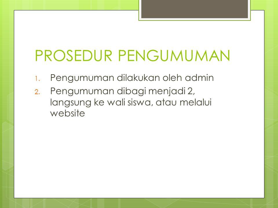 PROSEDUR PENGUMUMAN 1. Pengumuman dilakukan oleh admin 2. Pengumuman dibagi menjadi 2, langsung ke wali siswa, atau melalui website