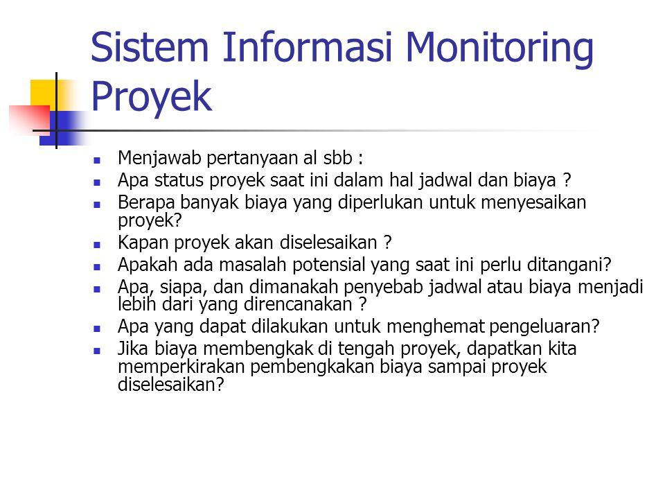 Sistem Informasi Monitoring Proyek Menjawab pertanyaan al sbb : Apa status proyek saat ini dalam hal jadwal dan biaya ? Berapa banyak biaya yang diper