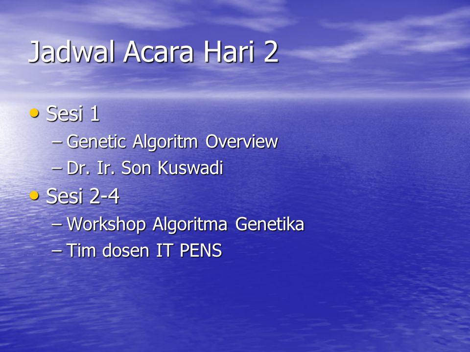 Jadwal Acara Hari 2 Sesi 1 Sesi 1 –Genetic Algoritm Overview –Dr. Ir. Son Kuswadi Sesi 2-4 Sesi 2-4 –Workshop Algoritma Genetika –Tim dosen IT PENS
