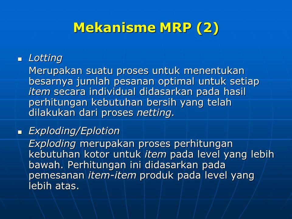 Mekanisme MRP (2) Lotting Lotting Merupakan suatu proses untuk menentukan besarnya jumlah pesanan optimal untuk setiap item secara individual didasark