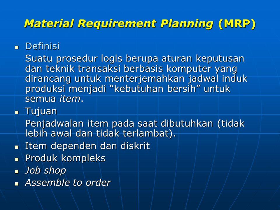 Material Requirement Planning (MRP) Definisi Definisi Suatu prosedur logis berupa aturan keputusan dan teknik transaksi berbasis komputer yang diranca