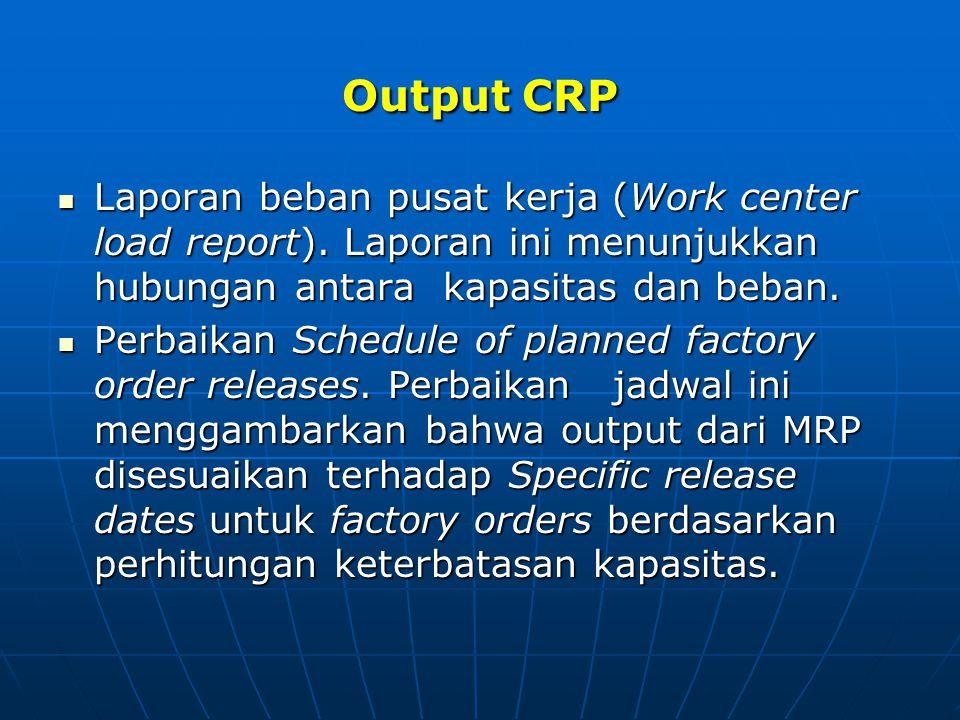 Output CRP Laporan beban pusat kerja (Work center load report). Laporan ini menunjukkan hubungan antara kapasitas dan beban. Laporan beban pusat kerja