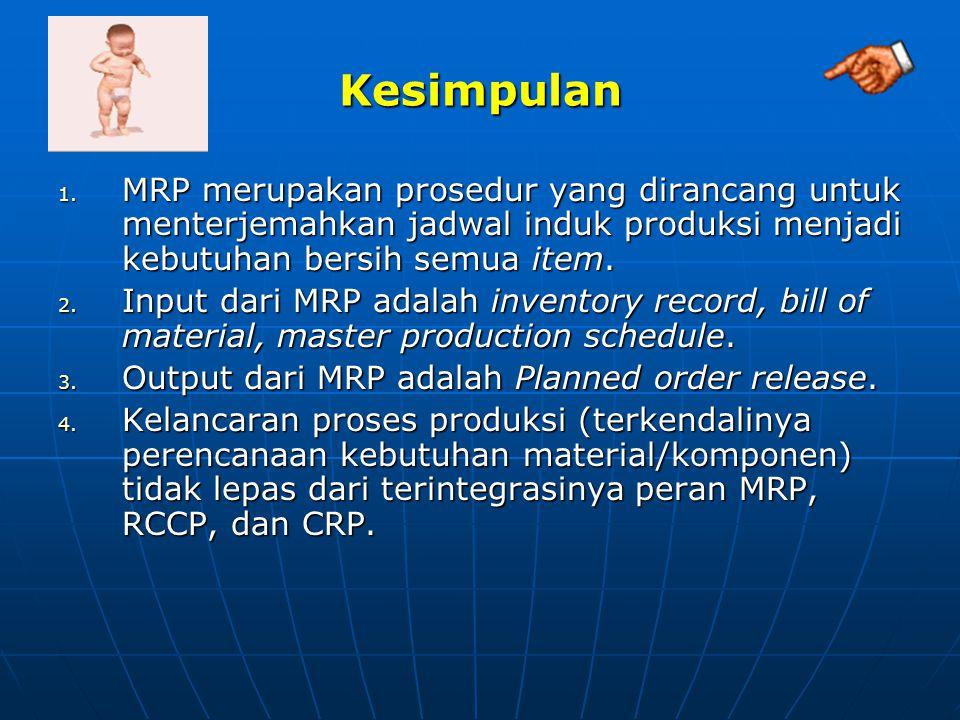 Kesimpulan 1. MRP merupakan prosedur yang dirancang untuk menterjemahkan jadwal induk produksi menjadi kebutuhan bersih semua item. 2. Input dari MRP