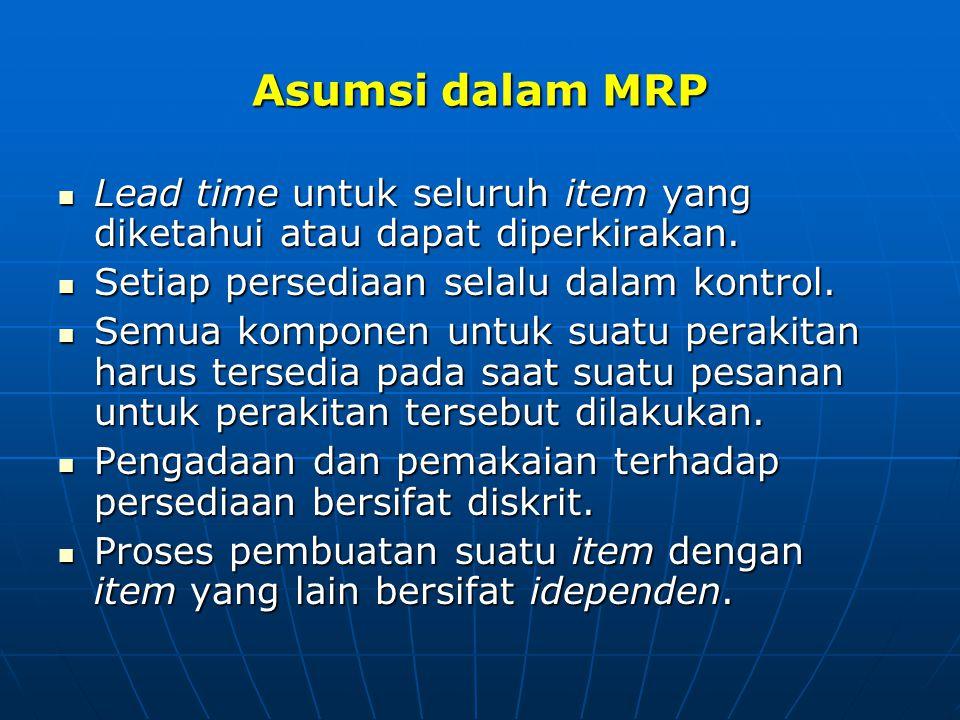 Asumsi dalam MRP Lead time untuk seluruh item yang diketahui atau dapat diperkirakan. Lead time untuk seluruh item yang diketahui atau dapat diperkira