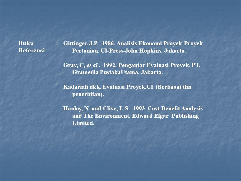 Buku Referensi : Gittinger, J.P. 1986. Analisis Ekonomi Proyek-Proyek Pertanian. UI-Press-John Hopkins. Jakarta. Gray, C, et al. 1992. Pengantar Evalu