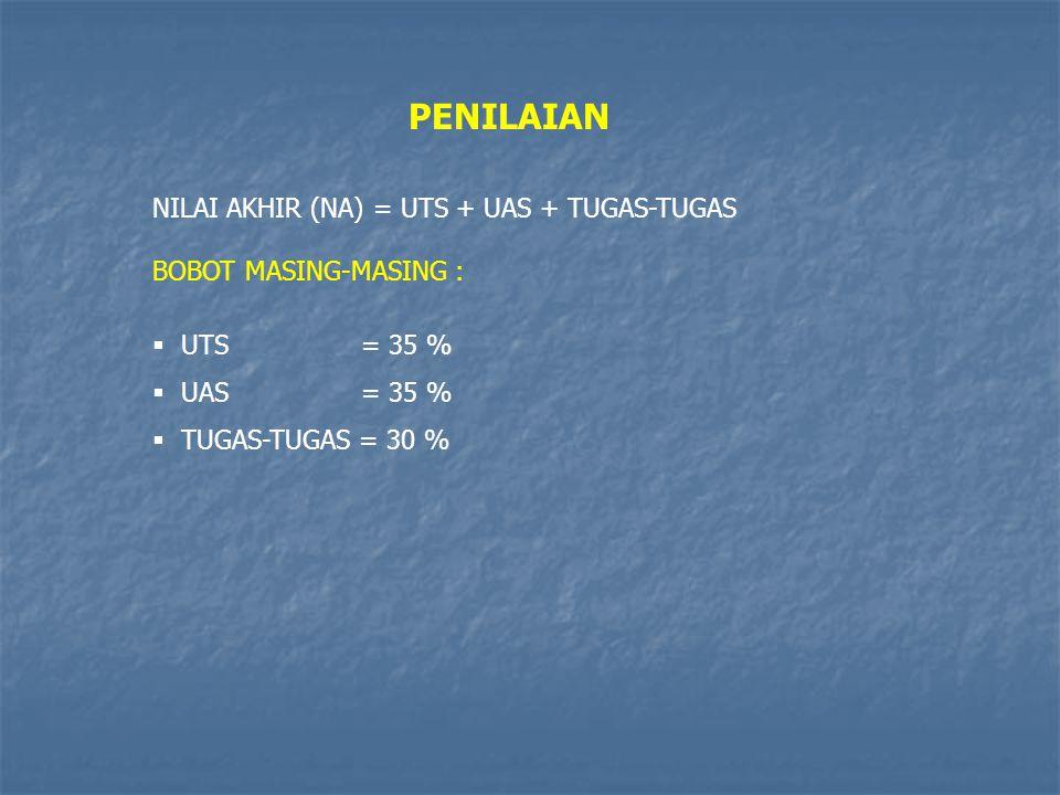 PENILAIAN NILAI AKHIR (NA) = UTS + UAS + TUGAS-TUGAS BOBOT MASING-MASING :  UTS = 35 %  UAS = 35 %  TUGAS-TUGAS = 30 %