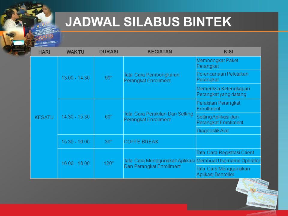 LOGO JADWAL SILABUS BINTEK HARIWAKTUDURASIKEGIATANKISI KESATU 13.00 - 14.3090'' Tata Cara Pembongkaran Perangkat Enrollment Membongkar Paket Perangkat