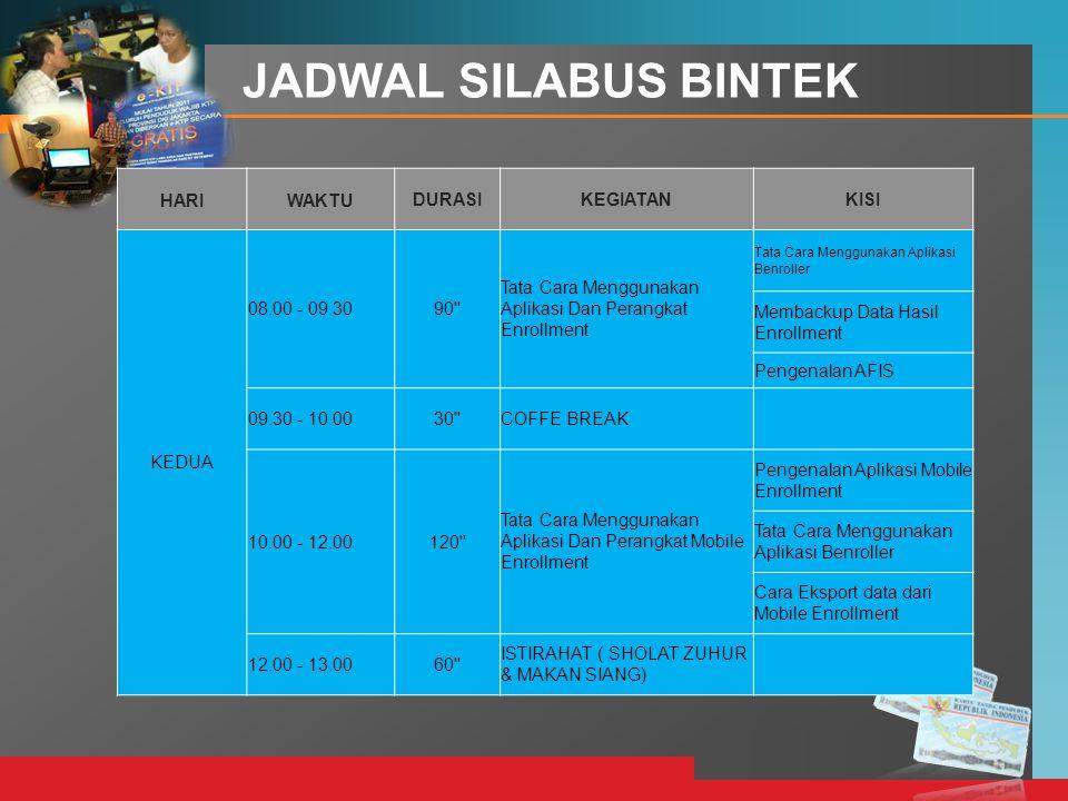 LOGO JADWAL SILABUS BINTEK HARIWAKTUDURASIKEGIATANKISI KEDUA 08.00 - 09.3090'' Tata Cara Menggunakan Aplikasi Dan Perangkat Enrollment Tata Cara Mengg