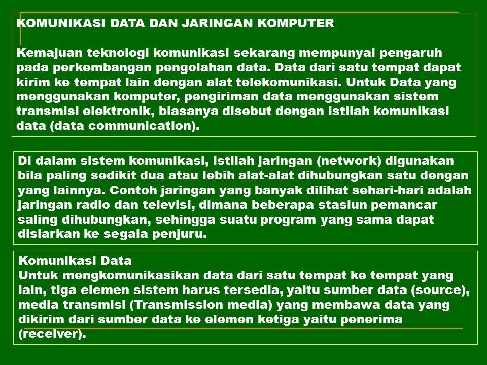 KOMUNIKASI DATA DAN JARINGAN KOMPUTER Kemajuan teknologi komunikasi sekarang mempunyai pengaruh pada perkembangan pengolahan data. Data dari satu temp