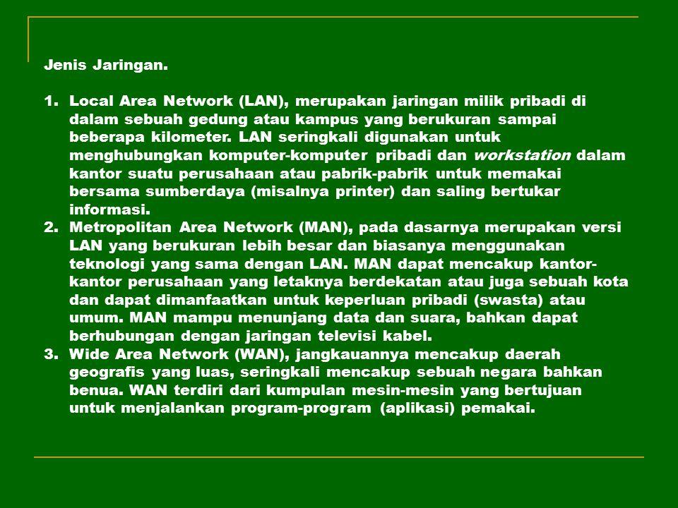 Jenis Jaringan. 1.Local Area Network (LAN), merupakan jaringan milik pribadi di dalam sebuah gedung atau kampus yang berukuran sampai beberapa kilomet