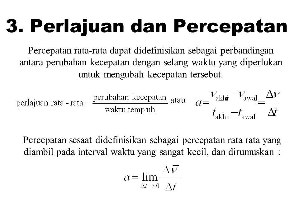 3. Perlajuan dan Percepatan Percepatan rata-rata dapat didefinisikan sebagai perbandingan antara perubahan kecepatan dengan selang waktu yang diperluk