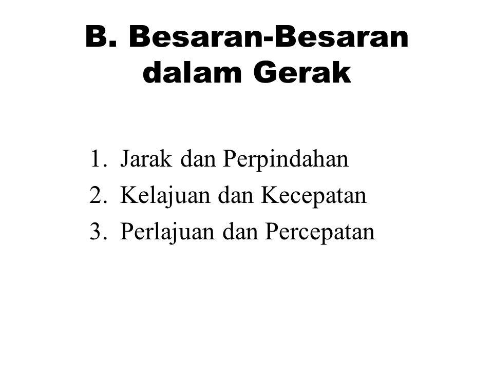 B.Besaran-Besaran dalam Gerak 1. Jarak dan Perpindahan 2.