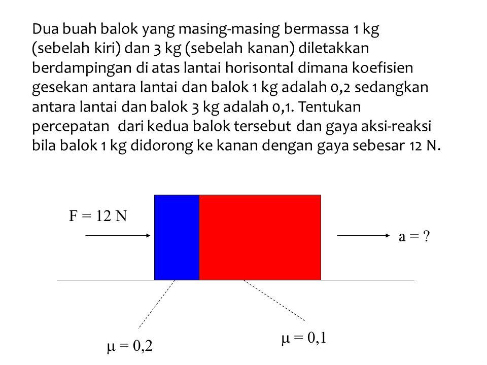 Dua buah balok yang masing-masing bermassa 1 kg (sebelah kiri) dan 3 kg (sebelah kanan) diletakkan berdampingan di atas lantai horisontal dimana koefisien gesekan antara lantai dan balok 1 kg adalah 0,2 sedangkan antara lantai dan balok 3 kg adalah 0,1.