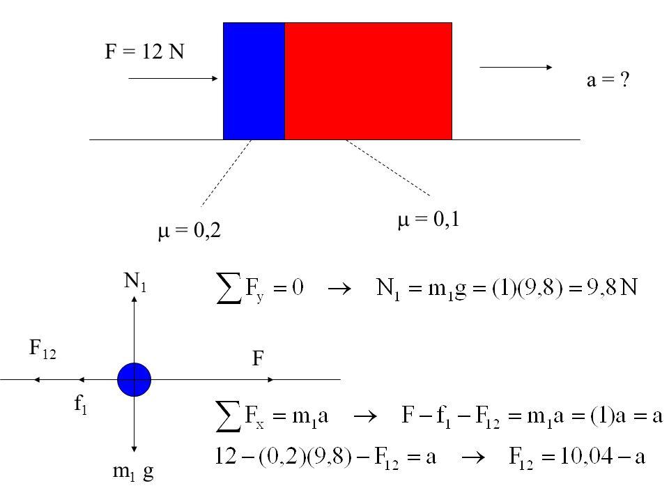  = 0,2  = 0,1 F = 12 N a = ? N1N1 m 1 g F f1f1 F 12
