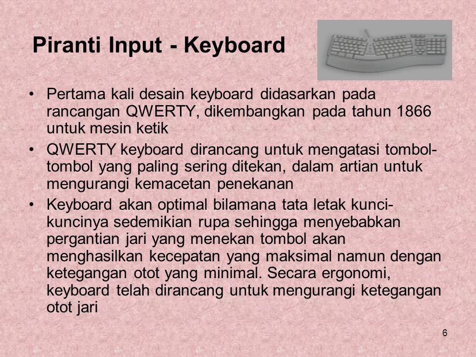 Piranti Input – Keyboard (2) Keyboard merupakan piranti terbaik untuk inputan berbentuk teks.
