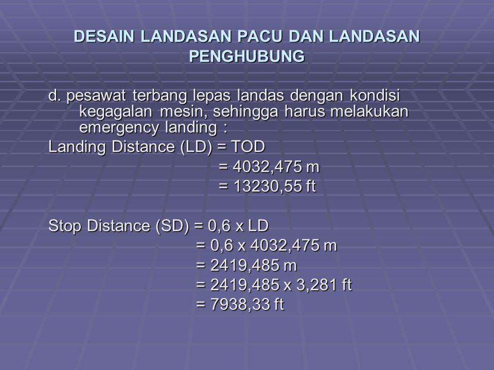 DESAIN LANDASAN PACU DAN LANDASAN PENGHUBUNG d. pesawat terbang lepas landas dengan kondisi kegagalan mesin, sehingga harus melakukan emergency landin