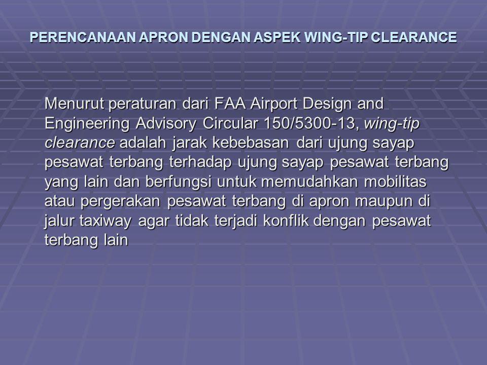 PERENCANAAN APRON DENGAN ASPEK WING-TIP CLEARANCE Menurut peraturan dari FAA Airport Design and Engineering Advisory Circular 150/5300-13, wing-tip cl