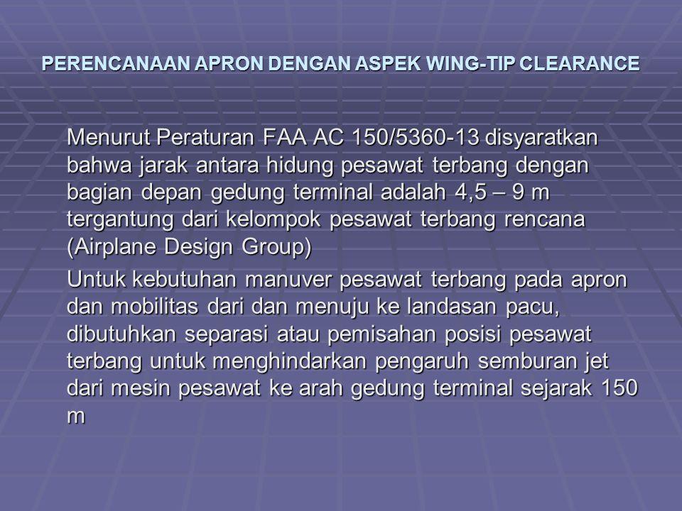 PERENCANAAN APRON DENGAN ASPEK WING-TIP CLEARANCE Menurut Peraturan FAA AC 150/5360-13 disyaratkan bahwa jarak antara hidung pesawat terbang dengan ba