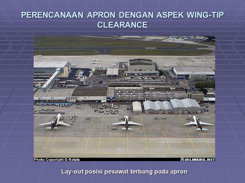 PERENCANAAN APRON DENGAN ASPEK WING-TIP CLEARANCE Lay-out posisi pesawat terbang pada apron