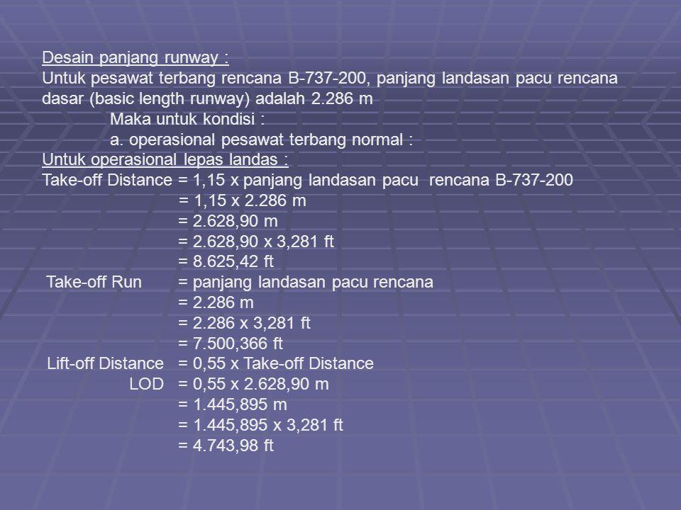 Desain panjang runway : Untuk pesawat terbang rencana B-737-200, panjang landasan pacu rencana dasar (basic length runway) adalah 2.286 m Maka untuk k