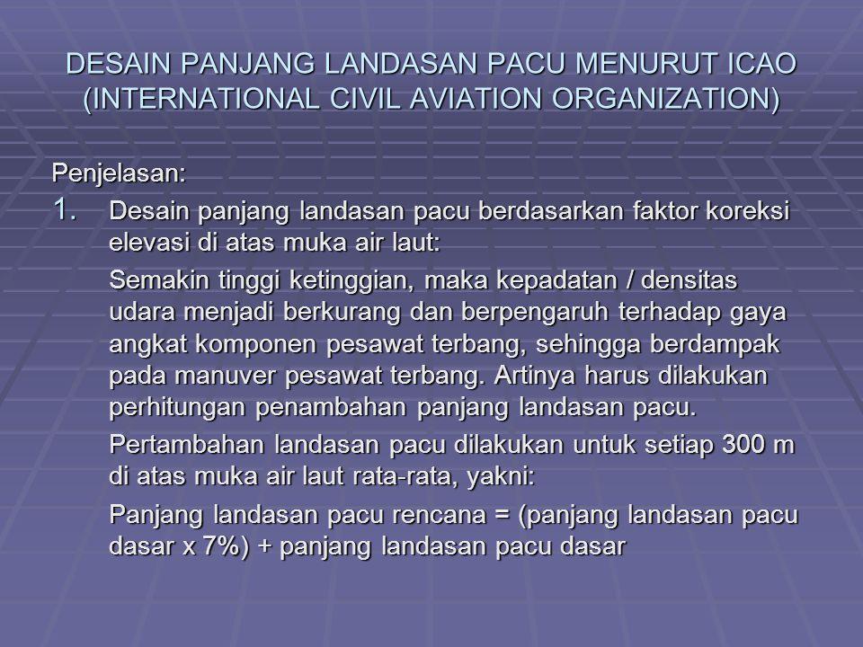 DESAIN PANJANG LANDASAN PACU MENURUT ICAO (INTERNATIONAL CIVIL AVIATION ORGANIZATION) Penjelasan: 1. Desain panjang landasan pacu berdasarkan faktor k