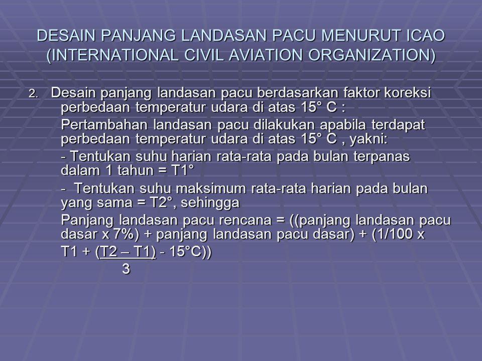 DESAIN PANJANG LANDASAN PACU MENURUT ICAO (INTERNATIONAL CIVIL AVIATION ORGANIZATION) 2. Desain panjang landasan pacu berdasarkan faktor koreksi perbe