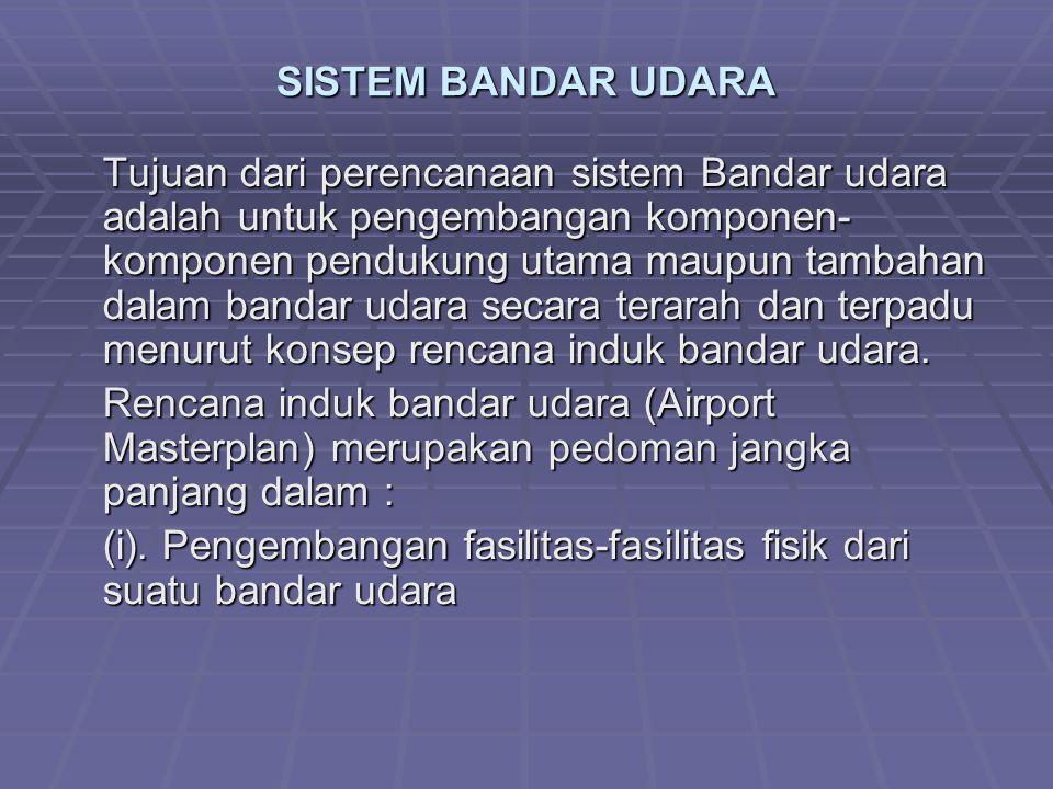 SISTEM BANDAR UDARA e.Ada tidaknya bandar udara/ lapangan terbang lain dan tersedianya wilayah penerbangan/ jalur terbang, hal ini menentukan jarak antar lapangan terbang dan kapasitas dasar dari bandar udara yang dapat melayani pengguna jasa transportasi udara, sehingga tidak menimbulkan gangguan dalam proses operasional lapangan terbang