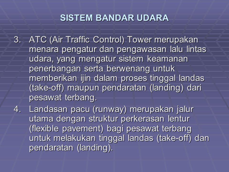 SISTEM BANDAR UDARA 3.ATC (Air Traffic Control) Tower merupakan menara pengatur dan pengawasan lalu lintas udara, yang mengatur sistem keamanan penerbangan serta berwenang untuk memberikan ijin dalam proses tinggal landas (take-off) maupun pendaratan (landing) dari pesawat terbang.