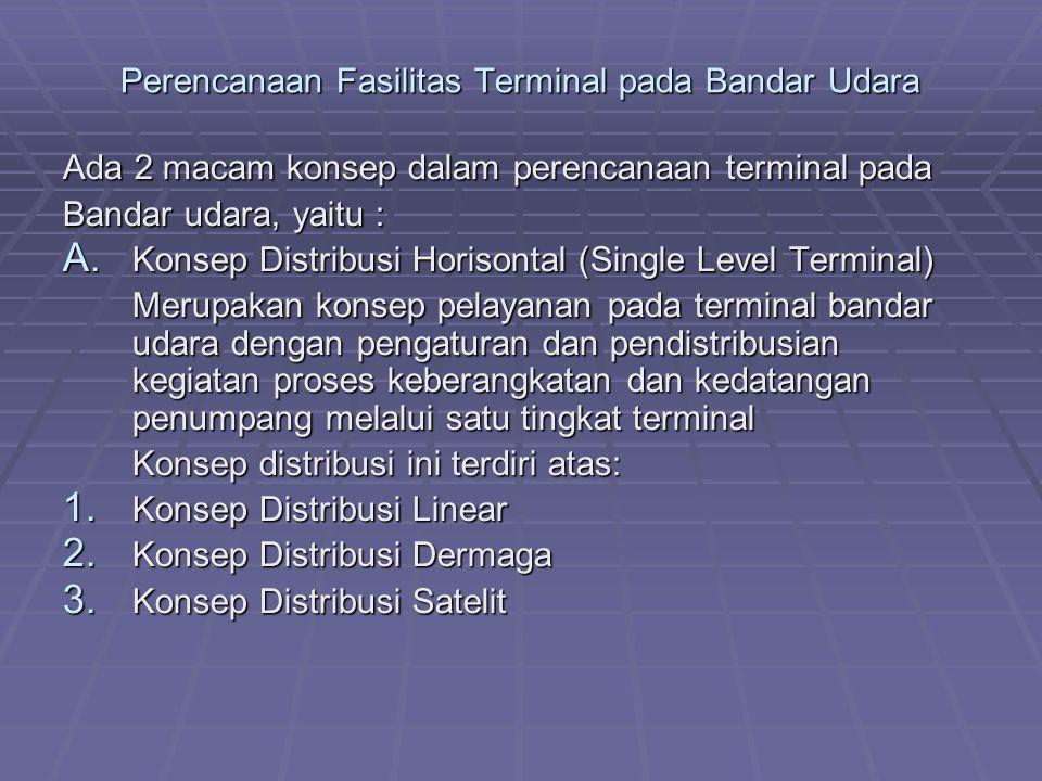 Perencanaan Fasilitas Terminal pada Bandar Udara Ada 2 macam konsep dalam perencanaan terminal pada Bandar udara, yaitu : A. Konsep Distribusi Horison