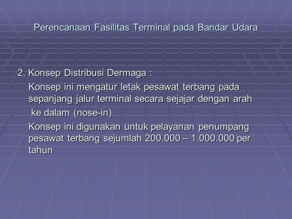 Perencanaan Fasilitas Terminal pada Bandar Udara 2. Konsep Distribusi Dermaga : Konsep ini mengatur letak pesawat terbang pada sepanjang jalur termina