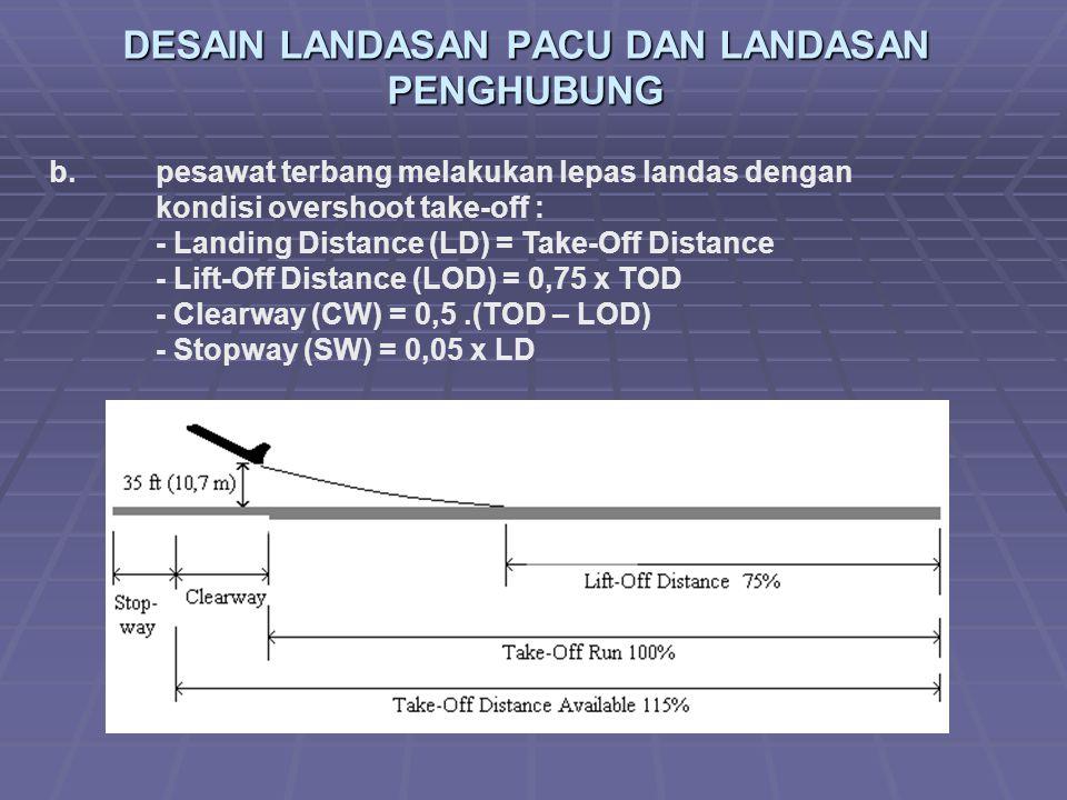 DESAIN LANDASAN PACU DAN LANDASAN PENGHUBUNG b. pesawat terbang melakukan lepas landas dengan kondisi overshoot take-off : - Landing Distance (LD) = T