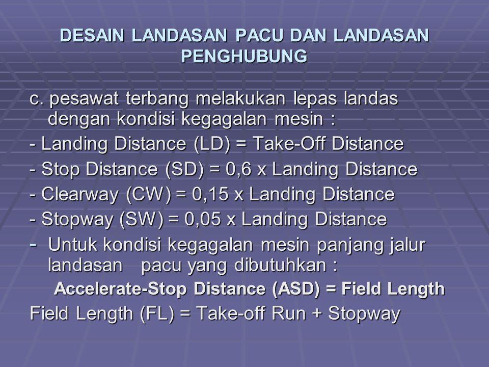 DESAIN LANDASAN PACU DAN LANDASAN PENGHUBUNG c. pesawat terbang melakukan lepas landas dengan kondisi kegagalan mesin : - Landing Distance (LD) = Take