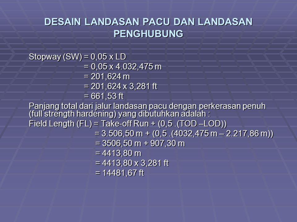 DESAIN LANDASAN PACU DAN LANDASAN PENGHUBUNG Stopway (SW) = 0,05 x LD = 0,05 x 4.032,475 m = 0,05 x 4.032,475 m = 201,624 m = 201,624 m = 201,624 x 3,281 ft = 201,624 x 3,281 ft = 661,53 ft = 661,53 ft Panjang total dari jalur landasan pacu dengan perkerasan penuh (full strength hardening) yang dibutuhkan adalah : Field Length (FL) = Take-off Run + (0,5.(TOD –LOD)) = 3.506,50 m + (0,5.(4032,475 m – 2.217,86 m)) = 3.506,50 m + (0,5.(4032,475 m – 2.217,86 m)) = 3506,50 m + 907,30 m = 3506,50 m + 907,30 m = 4413,80 m = 4413,80 m = 4413,80 x 3,281 ft = 4413,80 x 3,281 ft = 14481,67 ft = 14481,67 ft