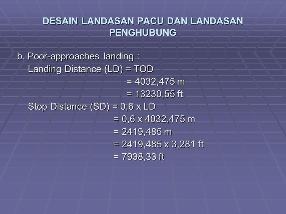 DESAIN LANDASAN PACU DAN LANDASAN PENGHUBUNG b. Poor-approaches landing : Landing Distance (LD) = TOD = 4032,475 m = 4032,475 m = 13230,55 ft = 13230,