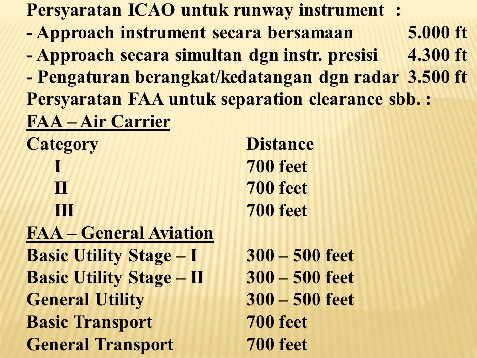  Separation Clearance adalah pemisahan di antara dua runway sejajar, dimana pemisahan tersebut tergantung dari : - Apakah landasan instrument atau no