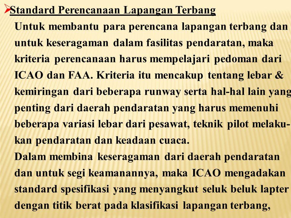  Standard Perencanaan Lapangan Terbang  Klasifikasi Lapangan Terbang  Runway  Taxiway  Apron  Pemisah Bebas Halangan (Separation Clearance)