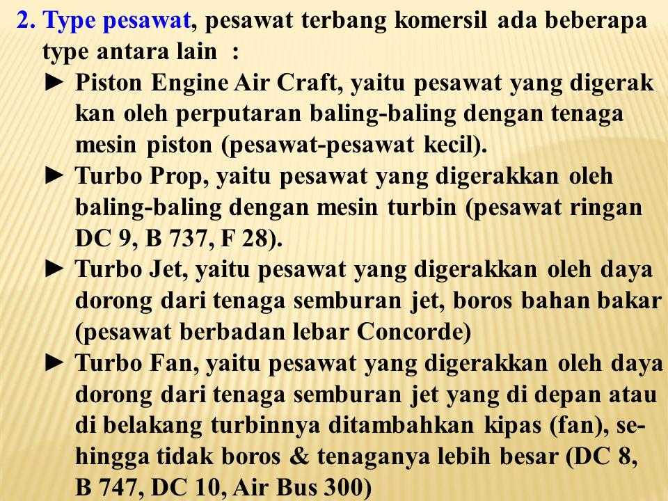 Dalam merencanakan lapangan terbang kita harus mem- perhitungkan perkembangan ukuran pesawat terbang, karena teknologi pesawat terbang selalu berkembang mengikuti perkembangan jaman, seperti terlihat pada tabel jenis-jenis pesawat berikut : Jenis Pesawat KecepatanPerbandingan (miles/hour)terhadap DC-3 DC-3 1851 DC-4 2401,3 DC-6 3051,7 DC-7 3601,9 DC-8 5703,1 DC-10 6003,2 Boeing 747 600 3,2 Concorde 1450 6,9 1 mile/hour = 1,609 km/jam