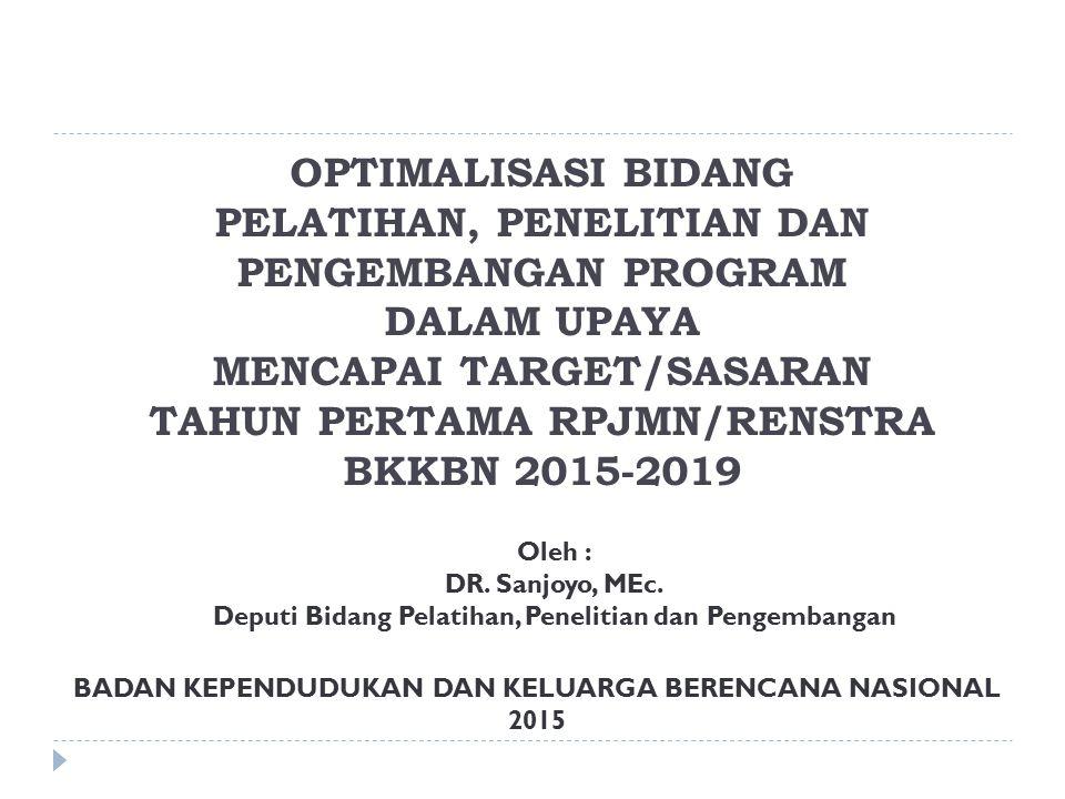 OPTIMALISASI BIDANG PELATIHAN, PENELITIAN DAN PENGEMBANGAN PROGRAM DALAM UPAYA MENCAPAI TARGET/SASARAN TAHUN PERTAMA RPJMN/RENSTRA BKKBN 2015-2019 BADAN KEPENDUDUKAN DAN KELUARGA BERENCANA NASIONAL 2015 Oleh : DR.