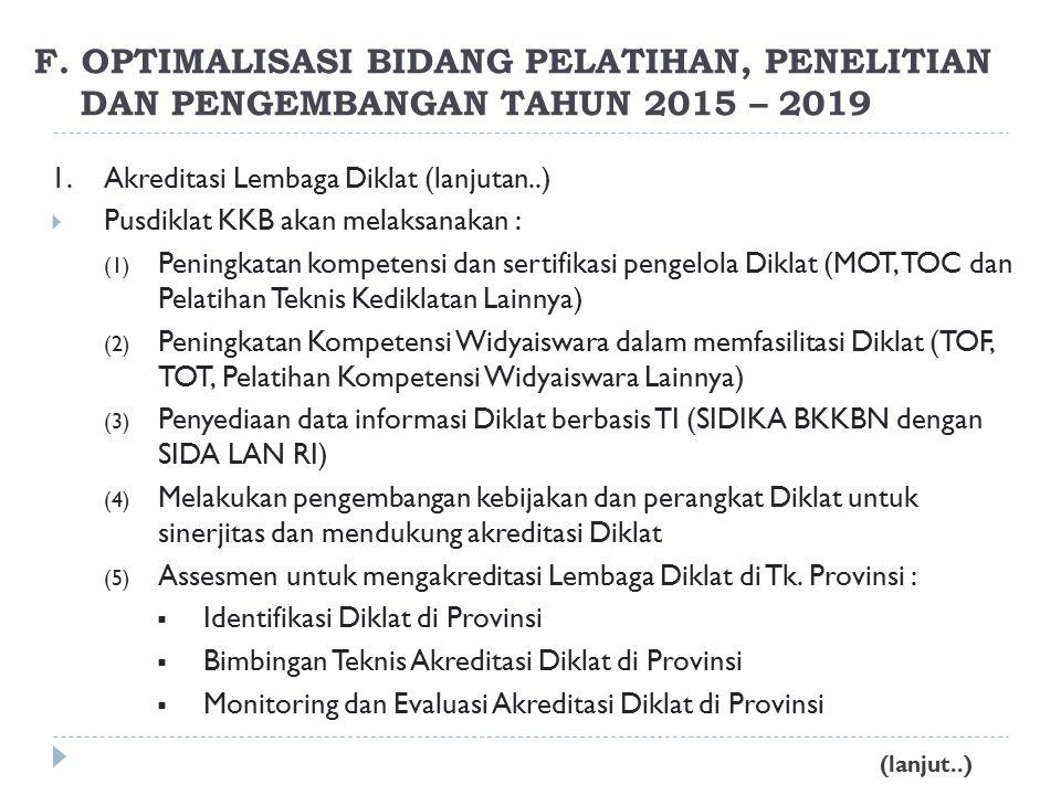 1.Akreditasi Lembaga Diklat (lanjutan..)  Pusdiklat KKB akan melaksanakan : (1) Peningkatan kompetensi dan sertifikasi pengelola Diklat (MOT, TOC dan Pelatihan Teknis Kediklatan Lainnya) (2) Peningkatan Kompetensi Widyaiswara dalam memfasilitasi Diklat (TOF, TOT, Pelatihan Kompetensi Widyaiswara Lainnya) (3) Penyediaan data informasi Diklat berbasis TI (SIDIKA BKKBN dengan SIDA LAN RI) (4) Melakukan pengembangan kebijakan dan perangkat Diklat untuk sinerjitas dan mendukung akreditasi Diklat (5) Assesmen untuk mengakreditasi Lembaga Diklat di Tk.